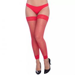 Meia Legging Arrastao com Renda 7/8 Vermelha