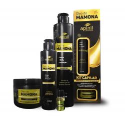 Kit Capilar Óleo De Mamona Apinil 4Produtos,Shampoo,Condicionador,Mascara e sem enxague